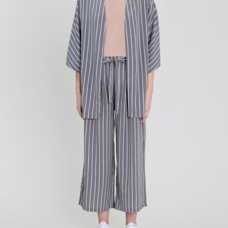 Native Youth Aya Stripe Kimono Jacket in Grey
