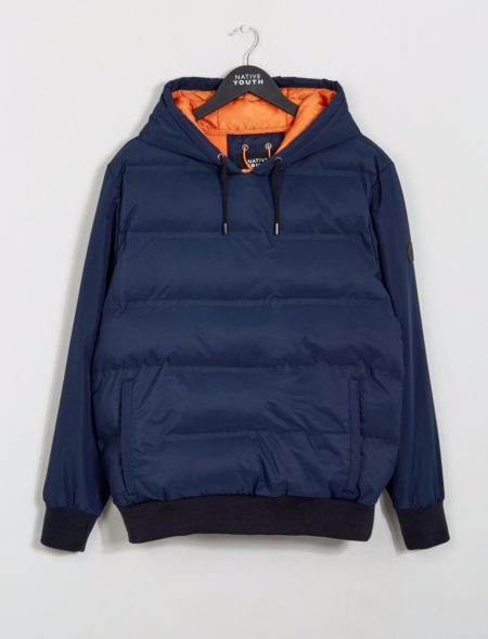 Native Youth Edgehill Hooded Puffa Jacket in Navy