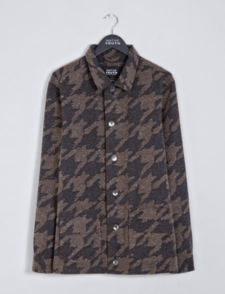 Native Youth Lynx Overshirt in Brown Houndstooth
