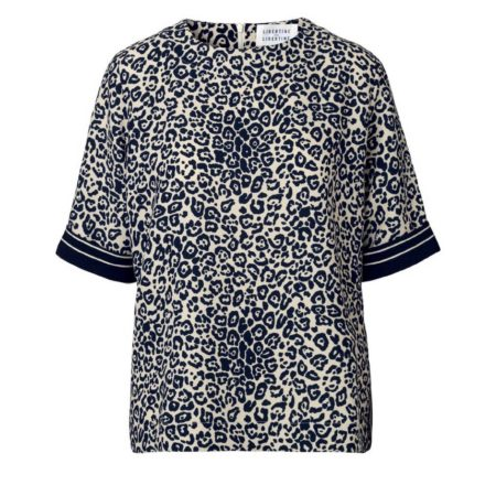 Libertine-Libertine Giant Reading Top in Dark Navy on White