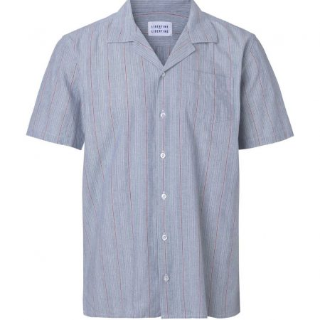 Libertine-Libertine Cave Struck Short Sleeved Shirt in Colonial Blue Stripe