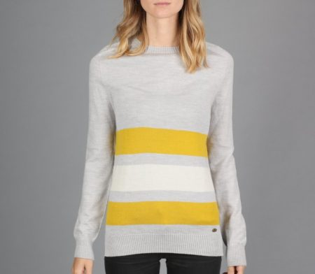 Peregrine Colour Stripe Jumper in Light Grey