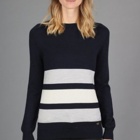 Peregrine Colour Stripe Jumper in Navy