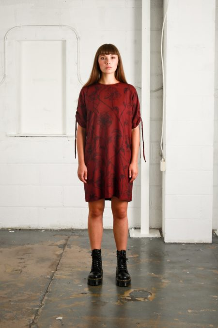 Native Youth Intricate Rose Dress in Burgundy