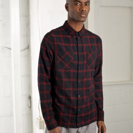 Native Youth Versions Shirt in Navy/Burgundy Check