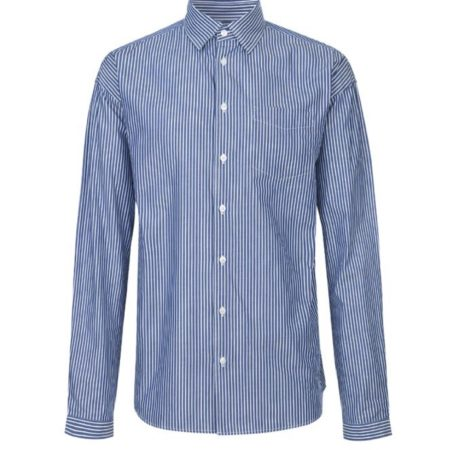 Libertine-Libertine Villain Mano Shirt in Navy Stripe