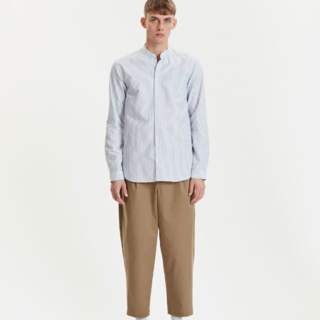 Libertine-Libertine Factory Panama Shirt in White with Blue Stripe