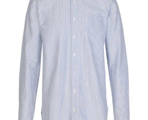 Libertine-Libertine Factory Panama Shirt in White with Blue Stripe