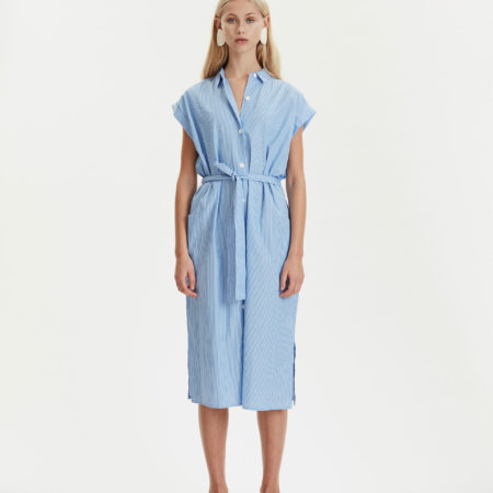 Libertine-Libertine Unit Free Shirt Dress in Blue Stripe