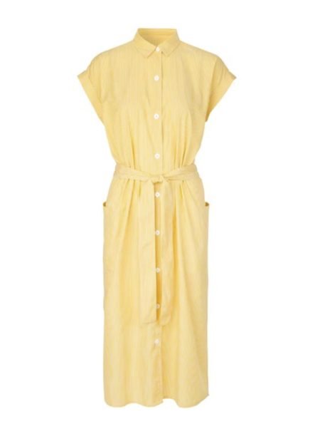 Libertine-Libertine Unit Free Shirt Dress in Yellow Stripe