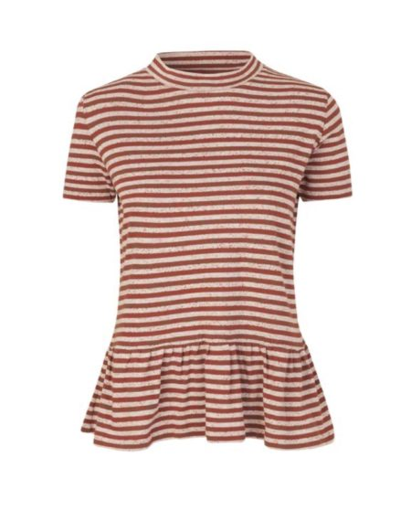 Libertine-Libertine Wake Saw Top in Rust Stripe