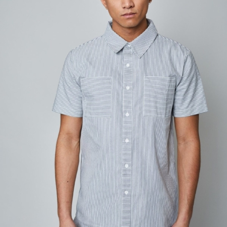 Native Youth Murphy Short Sleeve Shirt in Grey Stripe