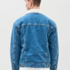 Dr Denim Caleb Denim Sherpa Jacket in Roadrunner Mid Blue