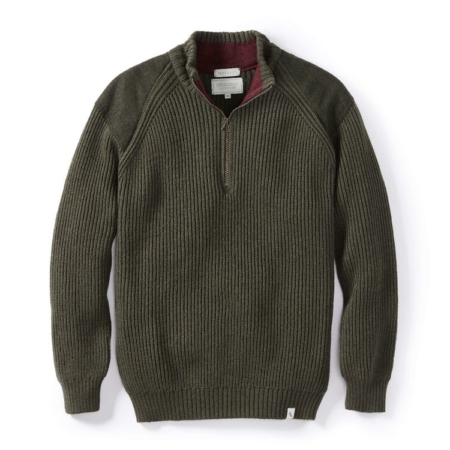 Peregrine Foxton Zip Neck Jumper in Olive