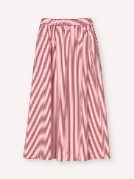 Libertine-Libertine Box A-Line Skirt in Red & White Stripe