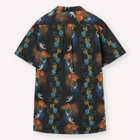 Libertine-Libertine Cave Stone Shirt Sleeve Shirt in Black Flower.