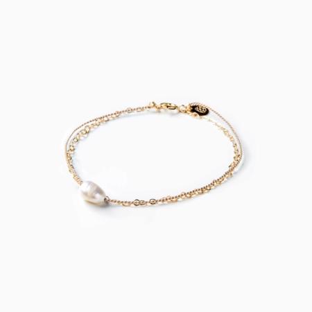 Wanderlust Life Gold & Silk White Pearl Bracelet