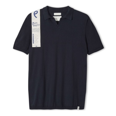 Peregrine Knitted Emery Polo Shirt in Navy.