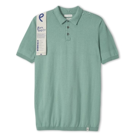 Peregrine Knitted Polo Shirt in Seafoam.