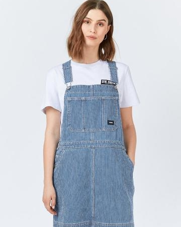 Dr Denim Michigan Pinafore Dress in Shift Worker Washed Stripe