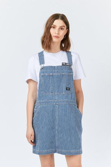 Dr DenimMichigan Pinafore Dress in Shift Worker Washed Stripe