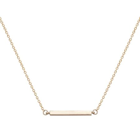 A Weathered Penny Bar Necklace in Gold
