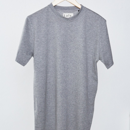 Lals Hawkers Worn Crew Tee in Grey Melange