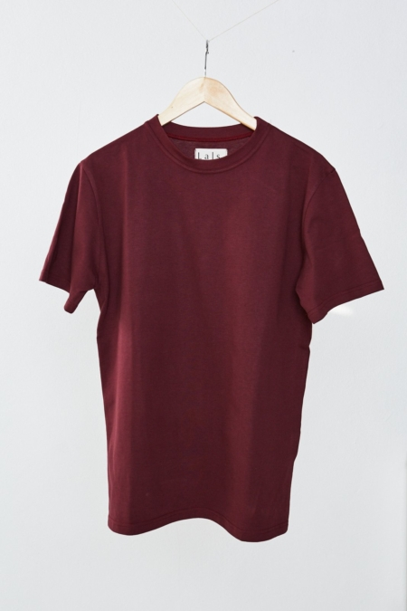 Lals Hawkers Worn Crew Tee in Wine