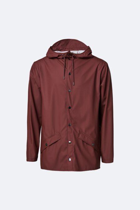 Rains Waterproof Jacket in Maroon.