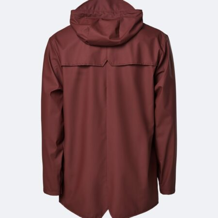 Rains Waterproof Jacket in Maroon.