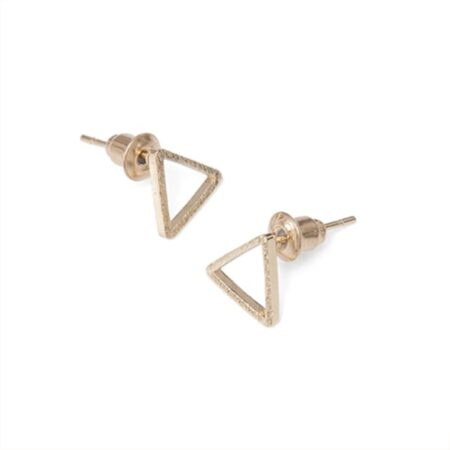 A Weathered Penny Triangle Stud Earrings in Gold