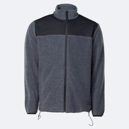 Rains Fleece Zip Puller in Grey Melange