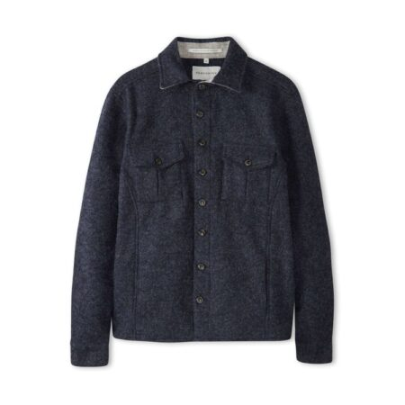 Peregrine Dexter Wool Overshirt in Navy