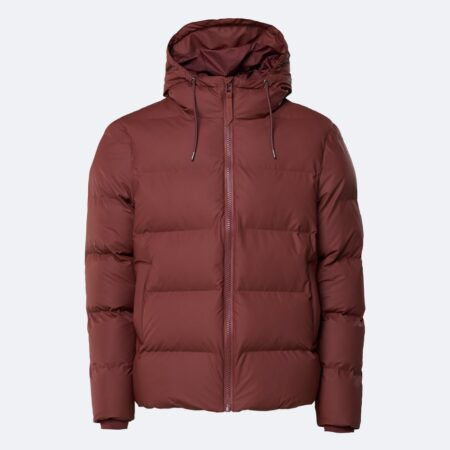 Rains Waterproof Puffer Coat in Maroon