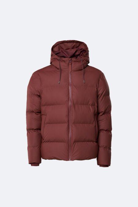 Rains Waterproof Puffer Coat in Maroon