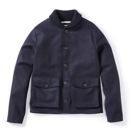 Peregrine Wilson Wool Shawl Jacket in Navy