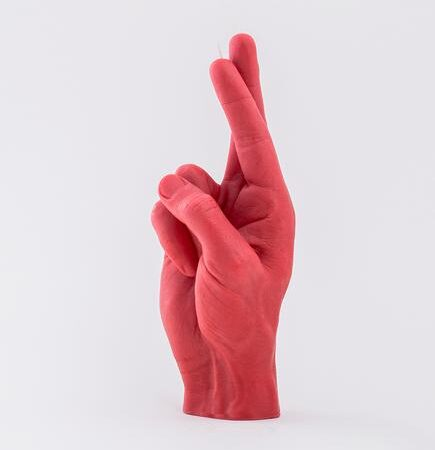 CandleHand Crossed Fingers Candle in Red