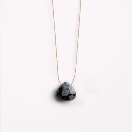 Wanderlust Life Black Obsidian Fine Cord Necklace