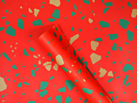 The Completist Christmas Terrazzo Gift Wrap in Red, Green and Gold