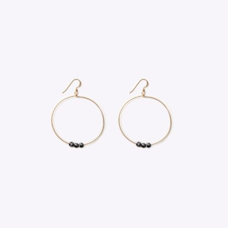 Wanderlust Life Black Obsidian Enso Hoop Earrings