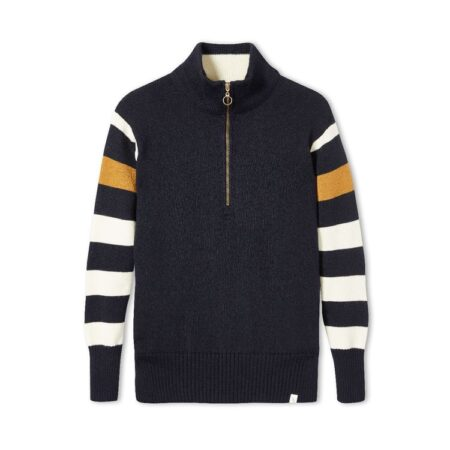 Peregrine Rovers Zip Neck Jumper in Navy/Ecru Stripe