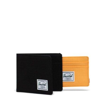 HerschelSupply CoAndy Wallet in Black Ripstop/Blazing Orange