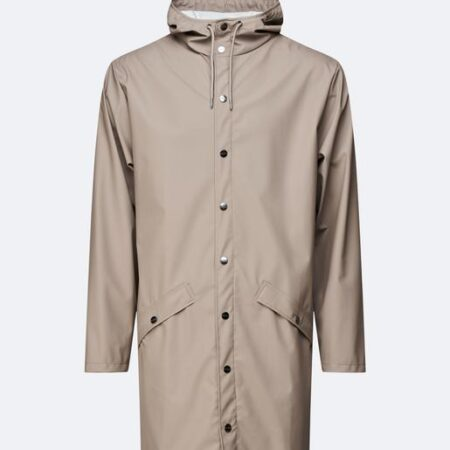 Rains Waterproof Long Jacket in Taupe