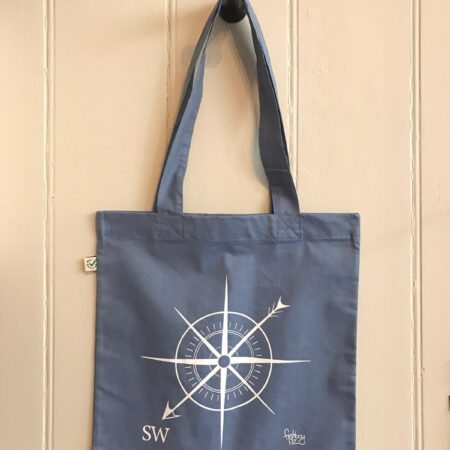 Fishboy PZ SW Compass Tote Bag in Faded Denim Blue