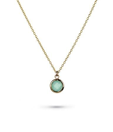 One and Eight Aqua Charm Gold Necklace