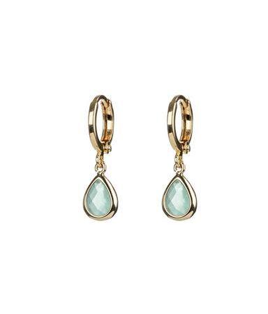 One and Eight Aqua Huggie Hoop Earrings