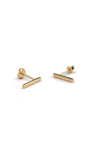 One and Eight Bar Stud Earrings in Gold