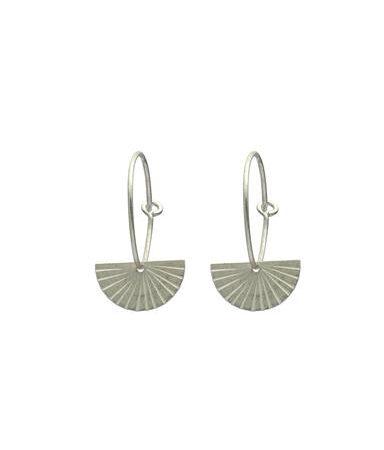 One and Eight Fan Earrings in Silver