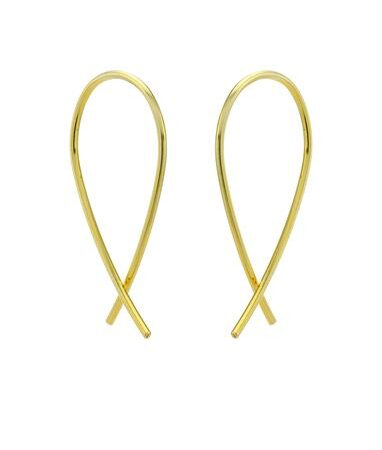 One and Eight Gold Crossover Earrings - Small
