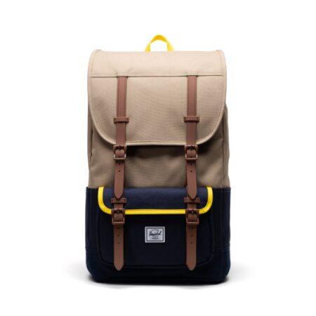 Herschel Supply Co Little America Pro Backpack in Kelp/Peacoat/Cyber Yellow/Saddle.